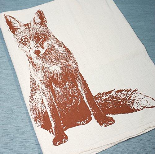 Dish Towel Hand Printed Flour Sack Tea Towel Fox Tea Towel Fox Towel