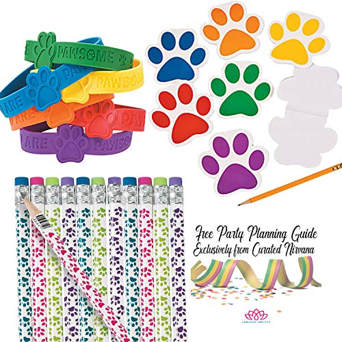 Party Pups Treat Bags - Paw Print Lets Pawty Favor Bundle for 24 |Pawsome Rubber Bracelets, Mini Notepads & Paw Theme Pencils | 72 Total Pieces for Birthday Party, Classroom Prizes, Goody Bags
