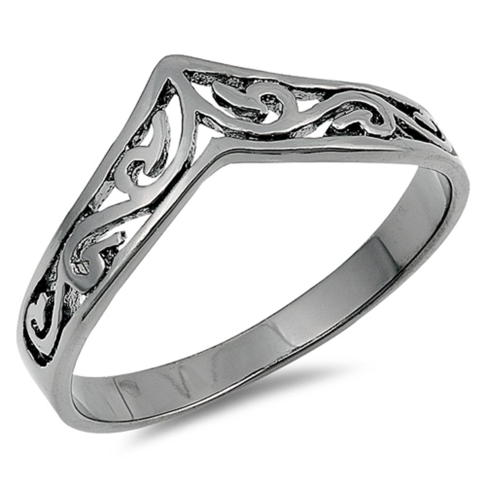 CloseoutWarehouse Black Plated Sterling Silver Pointed Filigree Ring Size 9