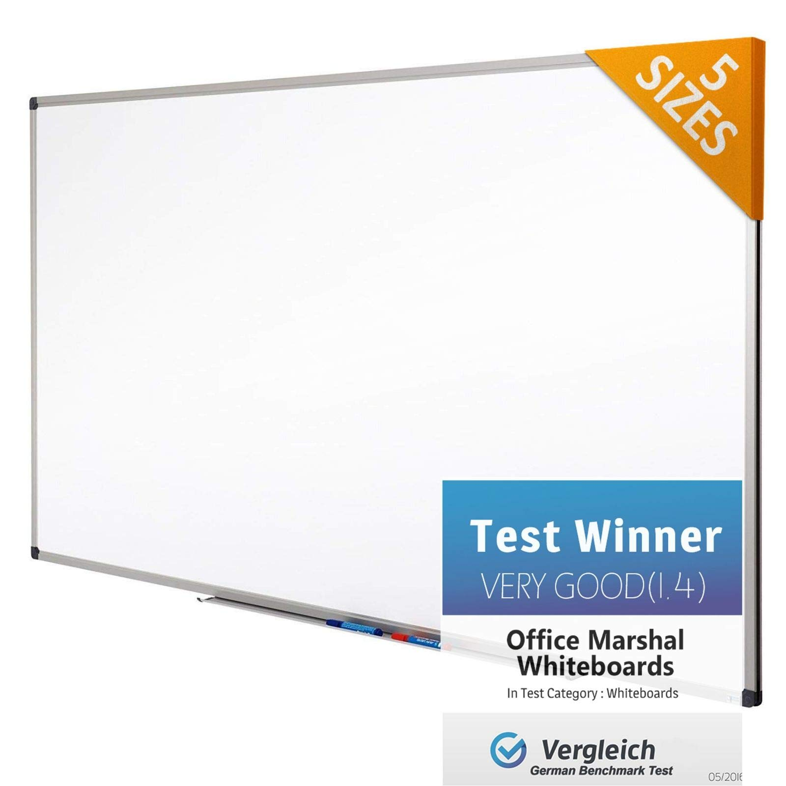 Office Marshal Professional Magnetic Dry Erase Board | White Board | Test Score: Excellent (A/1.3) - 48'' x 36'' by OfficeMarshal