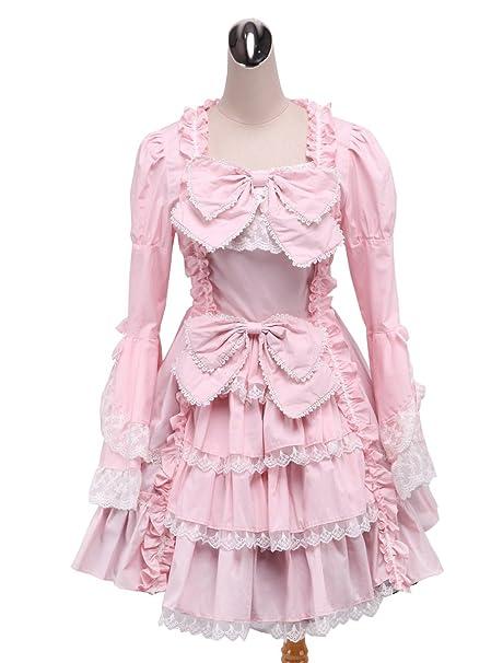 antaina Vestido de Cosplay Lolita Victoriana de lujo con encaje de encaje rosa Bowknot,XS