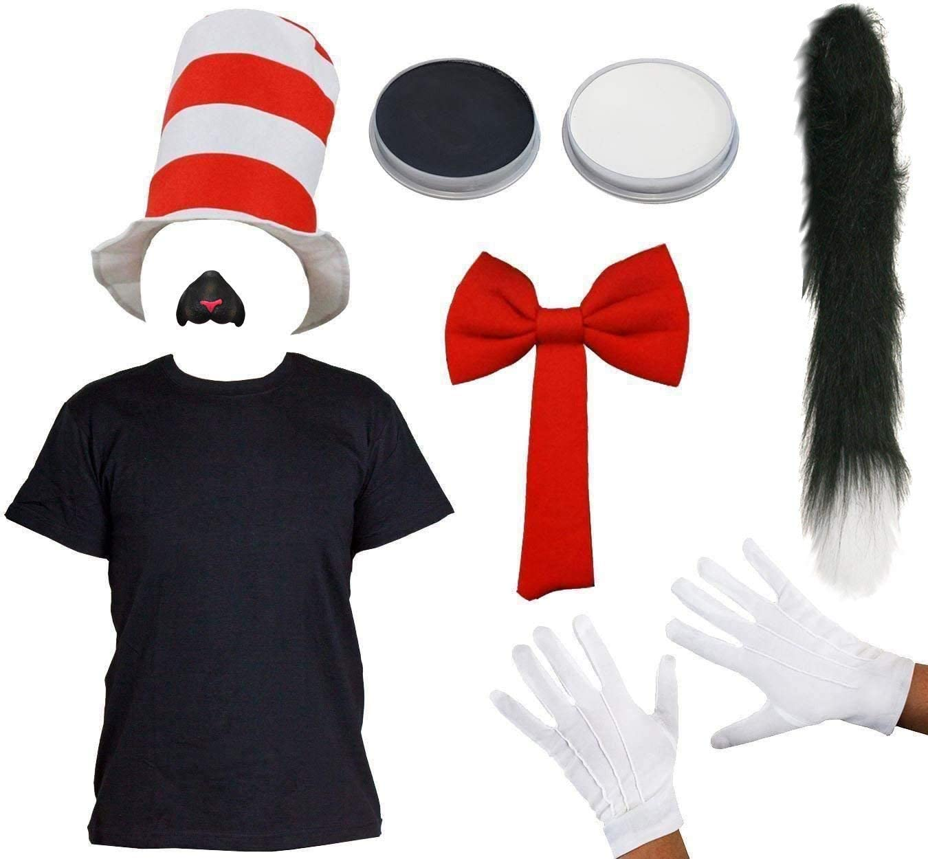 THIN BLACK CAT TAIL ADULTS CRAZY CAT FANCY DRESS COSTUME SET WITH FACEPAINT RED BOW TIE BLACK SHIRT CAT NOSE SMALL GLOVES BOOK WEEK COSTUME WITH STRIPED RED HAT
