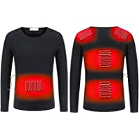 Stecto Camiseta térmica unisex con calefacción, camiseta de manga larga ajustable, lavable, con aislamiento USB, ropa…