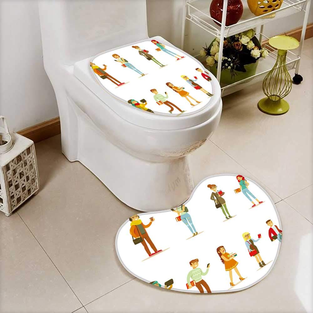 2 Piece Shower Mat set University And College Students Street Fashion Looks Set With Young Men Custom made Heart shaped foot pad Set