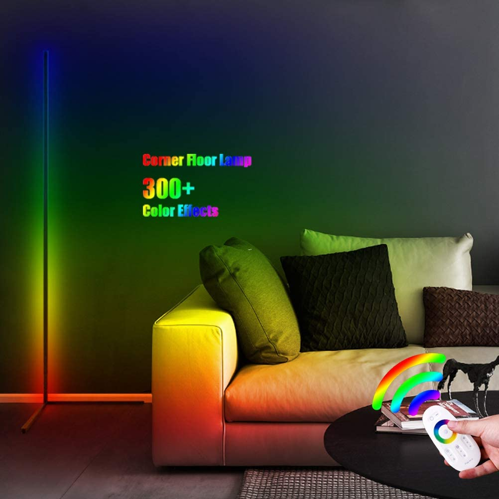 """55"""" Minimalist LED Corner Floor Lamp, 300+ Dimmable Color Changing Lighting with Touch Control Remote, Super Bright Vibrancy Standing Light for Living Room Bedroom Office Reading & Decor"""