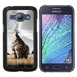 EJOOY---Cubierta de la caja de protección para la piel dura ** Samsung Galaxy J1 J100 ** --Jirafa Arte Savannah Safari Arte África Animal