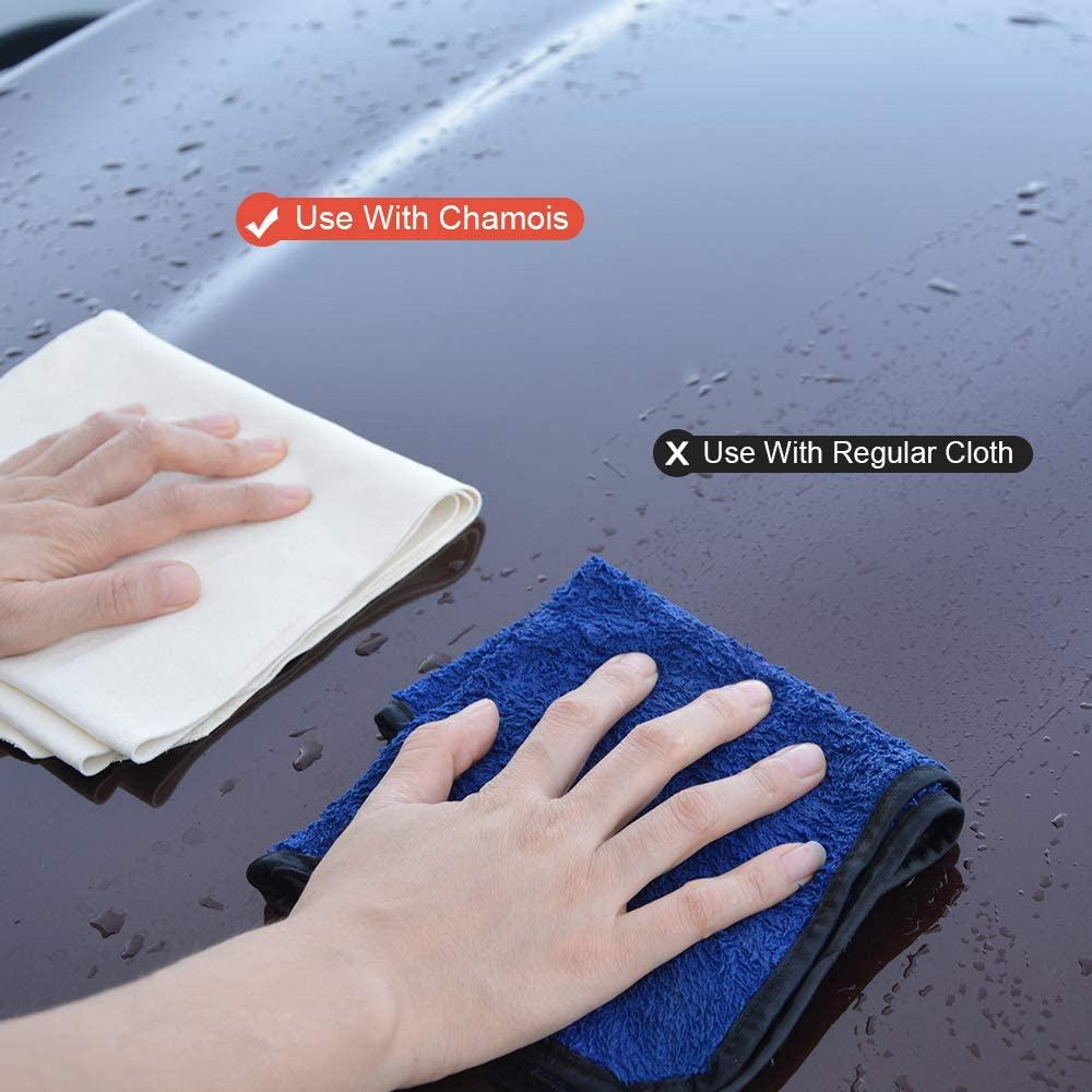VIVOTE Chamois Leather Cloths for Car Natural Sheepskin Leather Auto Cleaning Towel Super Absorbent No Scratches 2 Pack 40X65 CM