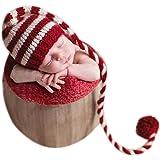 Gorro de Navidad con cola larga para bebés niño o niña para fotografías