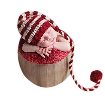 c94d650db062a Bebé recién nacido fotografía foto props niño Niña Crochet para adulto gorro  de larga cola de Navidad  Amazon.es  Bebé