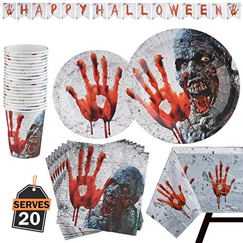 Not So Scary Halloween Party Prices (82 Piece Halloween Party Set Including Banner, Paper Plates, Cups, Napkins and Tablecloth, Serves)