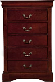 Alpine Furniture Louis Philippe II 5 Drawer Tall Boy Chest   Cherry
