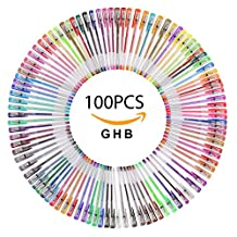 GHB 100 Color Gel Pen Set Gel Ink Drawing Pens for Coloring Drawing Writing Book Professional Artist Quality Gel Ink Pens in Vibrant Colors Standard, Glitter, Metallic, Neon, and Pastel
