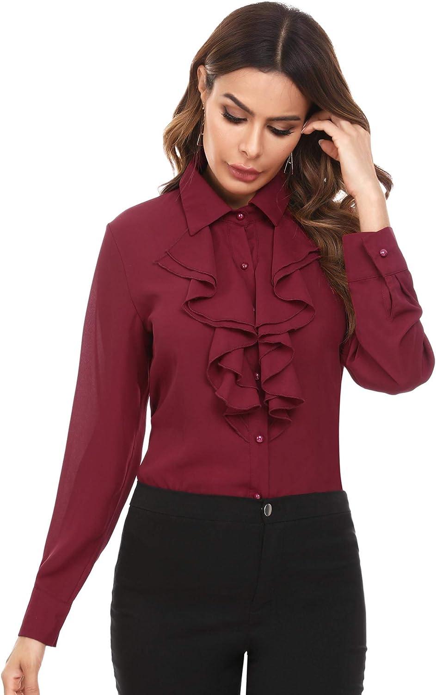 Moda Collo Volant Camicia Donna Maniche Lunghe Casual Button Down Blusa in Chiffon Tinta Unita Camicie Pulsanti Irevial Camicetta Donna con Scollo a Balze
