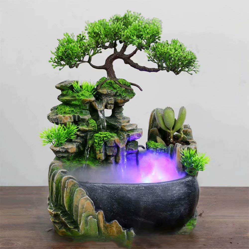 Table Top Indoor Water Feature Cascading Pump Rockery Water Fountain Mini Aquarium Festival Gifts Desk Micro Landscape Decoration Decoration Amazon Co Uk Kitchen Home