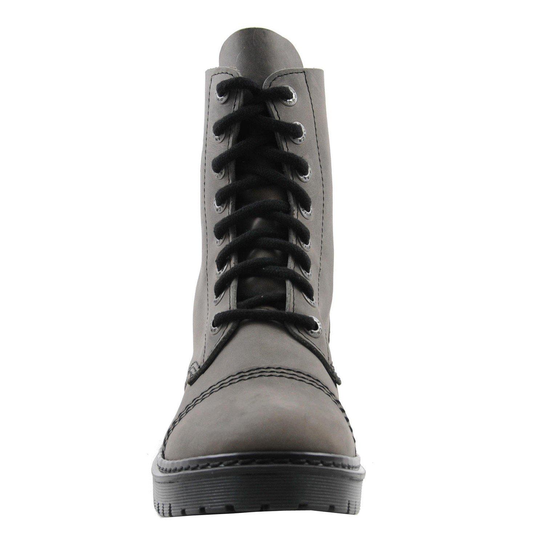 ANGRY ITCH Kampfstiefel Unisex Leder Herren Damen Leder Unisex Grau Vintage 8 Löcher Army Militärstiefel Punk 342223