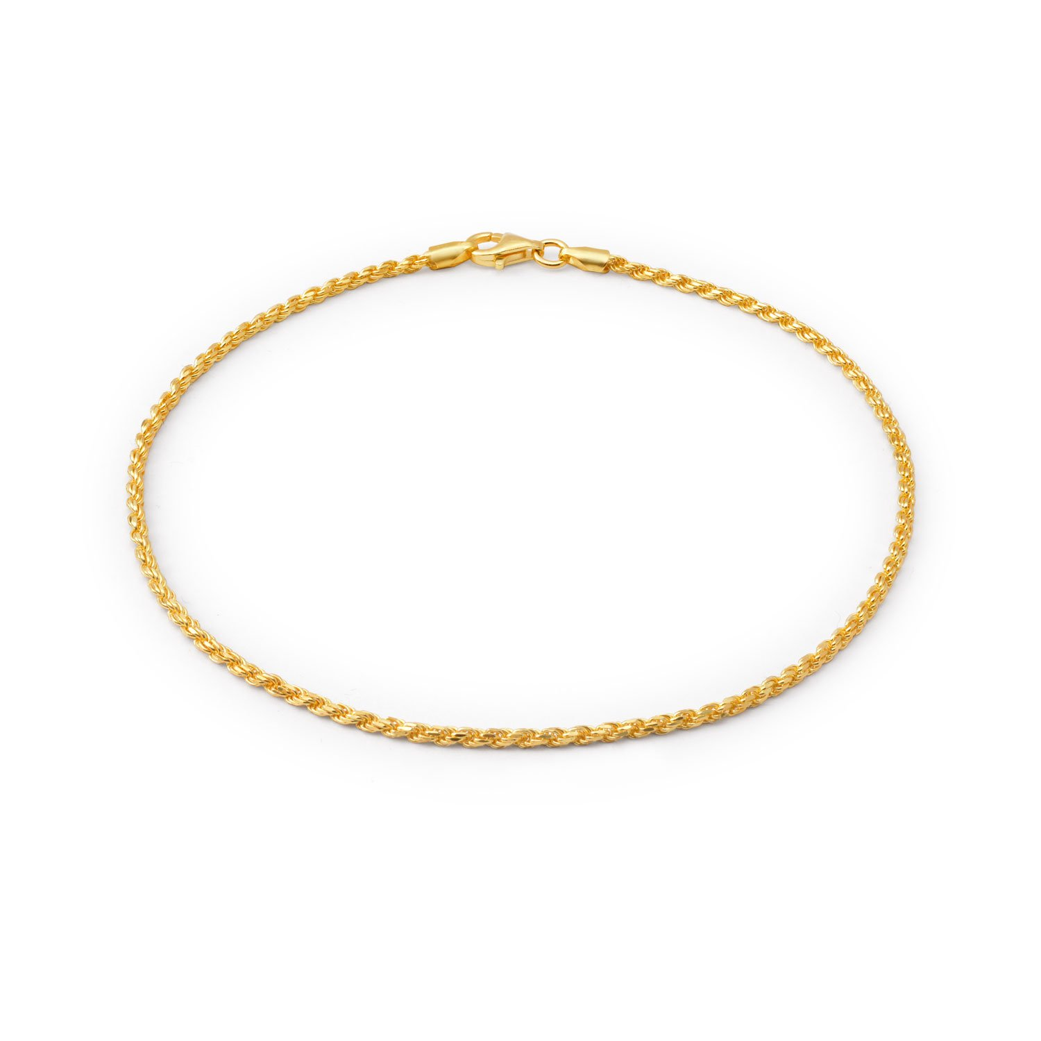 Bling Jewelry 40 Gauge 925 Sterling Silver Gold Plated Rope Anklet Italy CHY-ROPE040GA-10