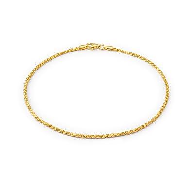0c2e34f4a385 Cadena Cuerda encanto pulsera para el tobillo tobillo Pulsera Chapado en  oro de 14k plata esterlina calibre 50  Amazon.es  Joyería