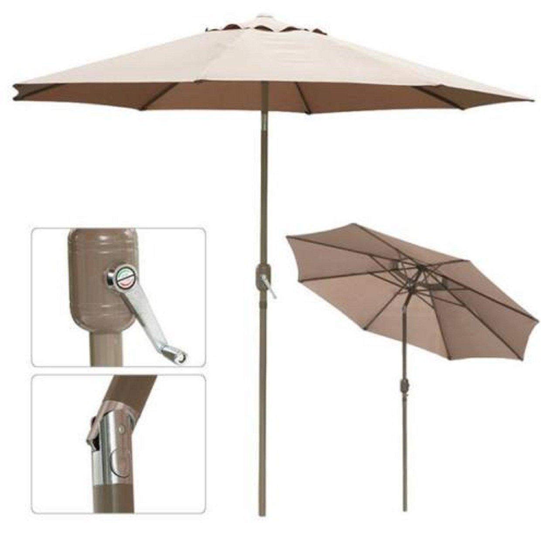 Umbrella Shade Sun Patio 8ft Aluminum Crank Tilt Table Market Outdoor Yard Beach Tan