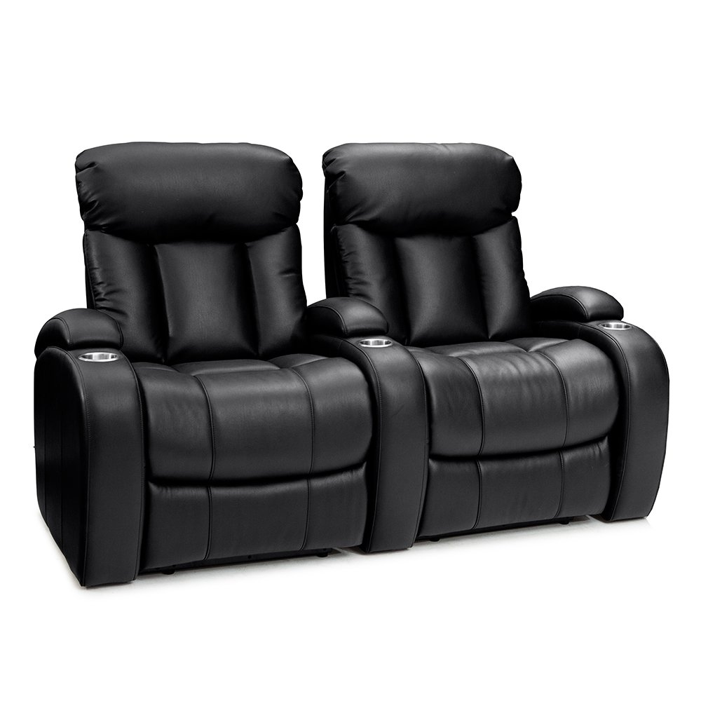 Seatcraft Sausalito Home Theater Seating Manual Recline Leather Gel (Row of 2, Black) by SEATCRAFT