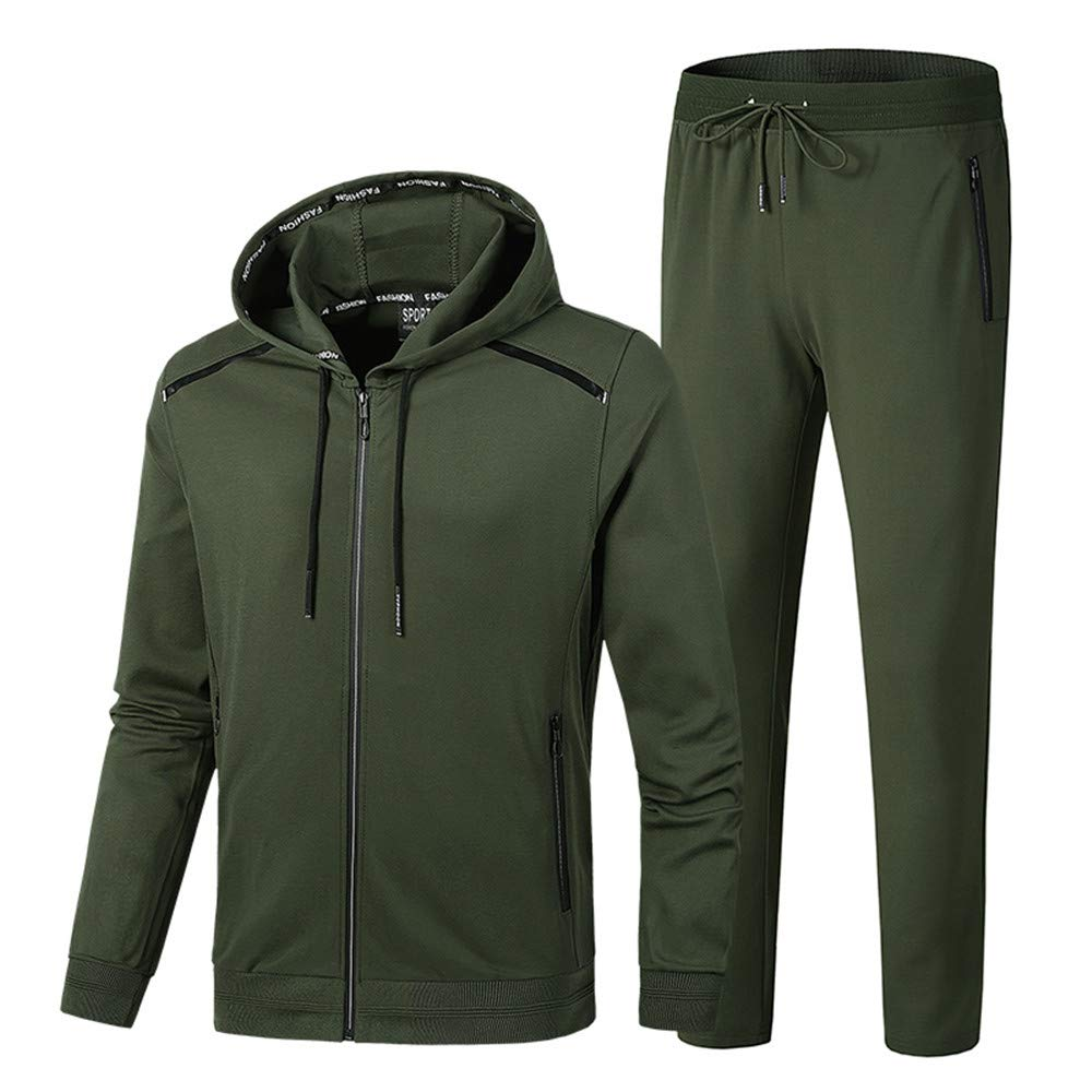 INVACHI Men's Casual 2 Pieces Solid Full Zip Hooded Sports Sets Jacket & Pants Active Gym Fitness Tracksuit Set by INVACHI