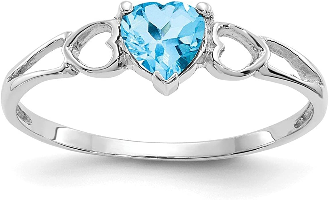 14K Yellow Gold Blue Topaz December Stone Heart Ring Size 7