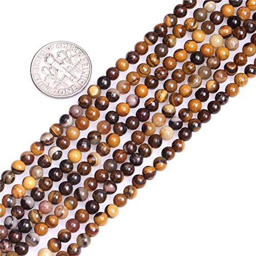 Frederick A. Farley 4mm Natural Round Brown Iron Zebra Jasper Gemstone Semi Precious Beads for Jewelry Making Stand 15