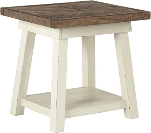 Signature Design by Ashley – Stowbranner Modern Farmhouse End Table w Fixed Shelf, White Brown