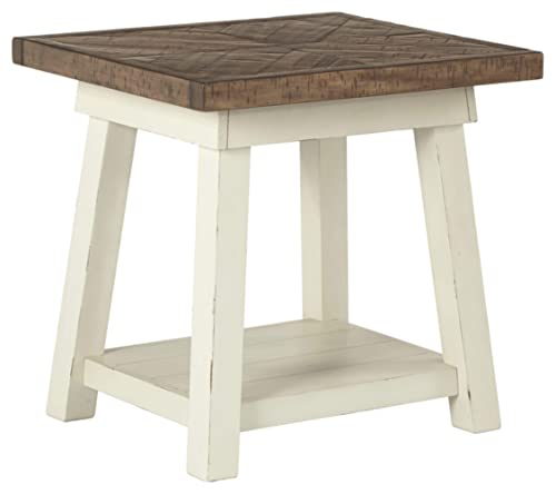 Signature Design by Ashley – Stowbranner Farmhouse Rectangular End Table, White Brown