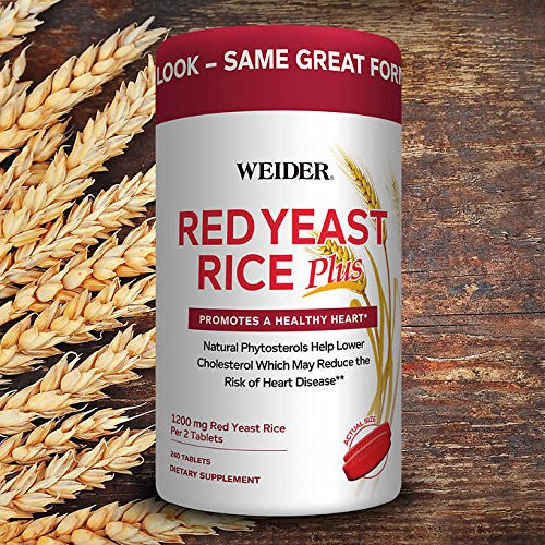 Weider Red Yeast Rice Plus with Phytosterols 1200 mg per 2 Tablets – Larger Size pack of 240 Tablets ICH I