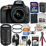 Nikon D5600 Wi-Fi Digital SLR Camera with 18-55mm VR & 70-300mm DX AF-P Lenses + 32GB Card + Case + Battery & Charger + Tripod + Filters + Kit