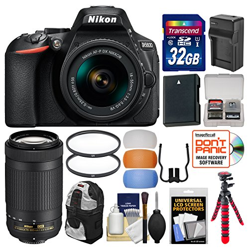 Cheap Nikon D5600 Wi-Fi Digital SLR Camera with 18-55mm VR & 70-300mm DX AF-P Lenses + 32GB Card + Case + Battery & Charger + Tripod + Filters + Kit