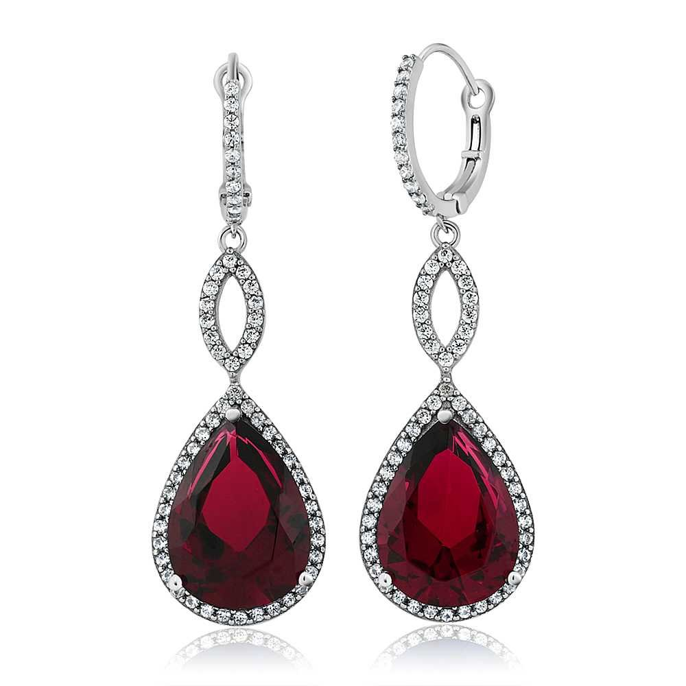Gem Stone King 19.45 Ct Pear Shape Red Created Ruby 925 Sterling Silver Dangle Earrings