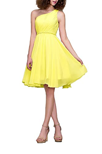 Cocktail Dress One Shoulder Formal Dresses for Women A-line Modest Bridesmaid Dress, Color Daffodil ...