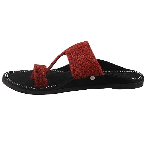 Indian Design Handmade Kolhapuri Black With red Color Jute Velvet Slipper Men