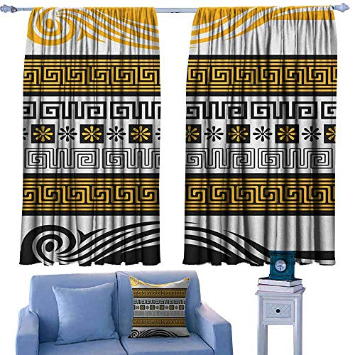 ParadiseDecor Greek Key Custom Drapes for Chid Neoclassical Borders Collection Meander Pattern and Flowers with Waves,Curtains for Living Room/Bedroom,W63 x L45 Inch