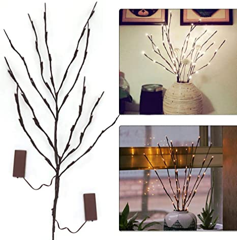 Amazon Com 2 Pack Led Artificial Tree Branch Lights Battery Powered Decorative Lights Tall Vase Filler Willow Twig Lighted Branch Lamp For Xmas Home Holiday Party Decor Warm White 20 Inches