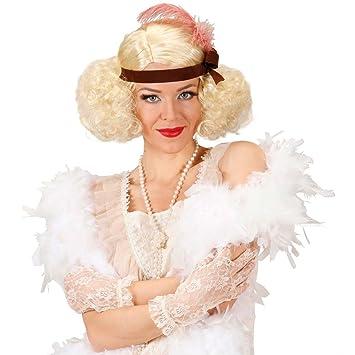 Peluca rubia de carnaval burlesque anos 20 cabello rubio ligero corista rizos platino