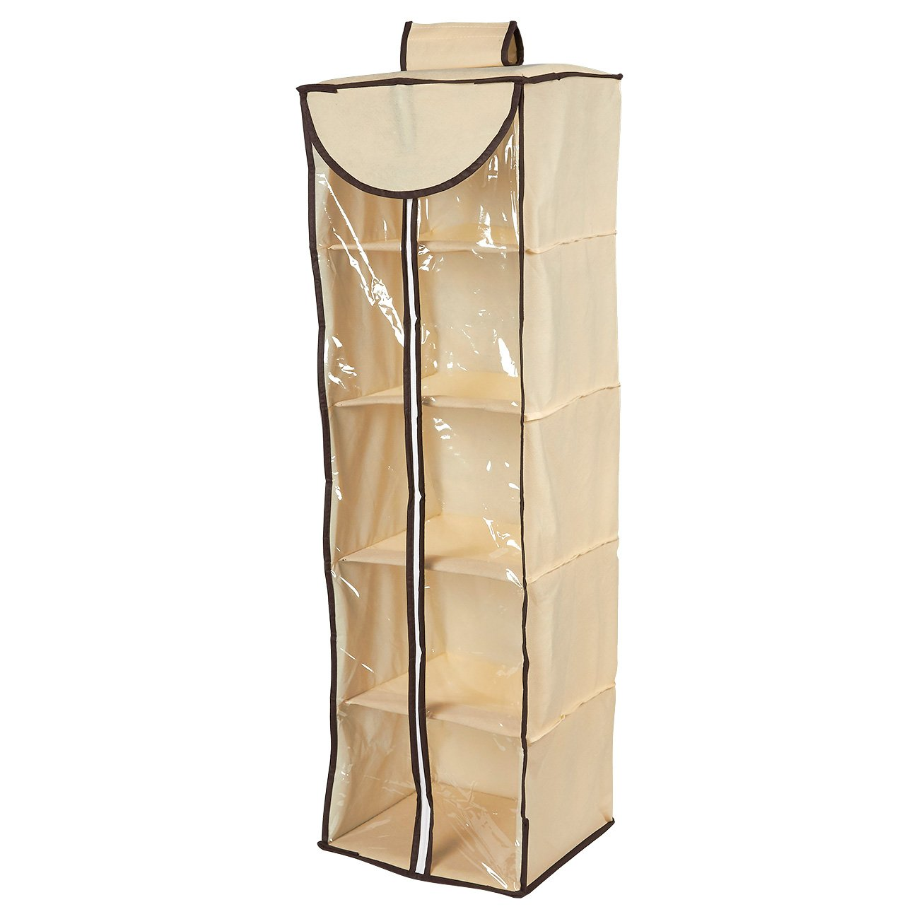 Juvale Hanging Closet Organizer - 5 Layers Storage Rack, Space Saver Drawers Cardboard Shelves Hook & Loop Strap Clothing, Shoes, Accessories, Beige, 40 x 12.25 x 12.25 inches