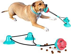 Aebor Upgraded Suction Cup Dog Toy, Double Suction Cups Multifunction Dog Chew Toy with Teeth Cleaning and Food Dispensing Features, Fit for Small, Large Dogs/Cats.