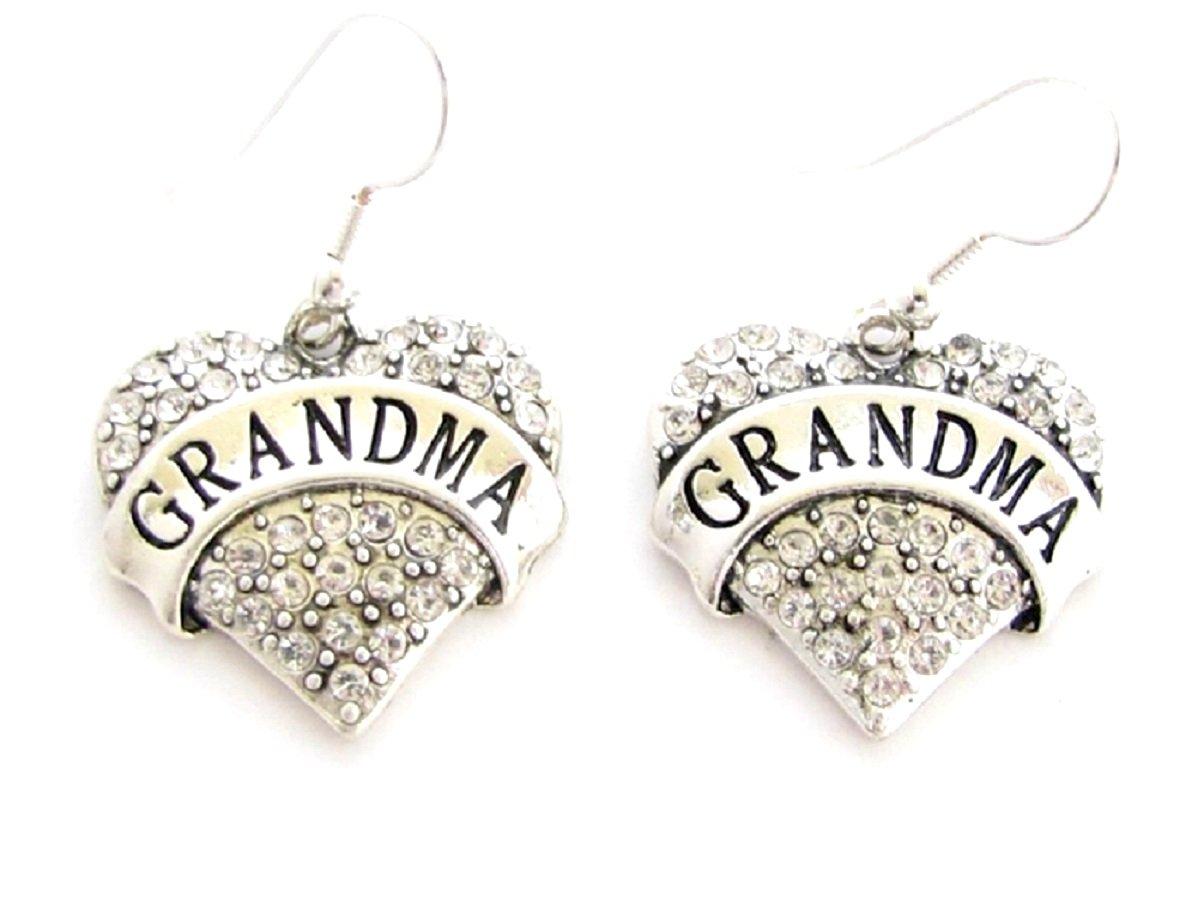 GRANDMA Engraved Heart Earrings are Embellished in Clear Crystal Rhinestones. Beautiful!