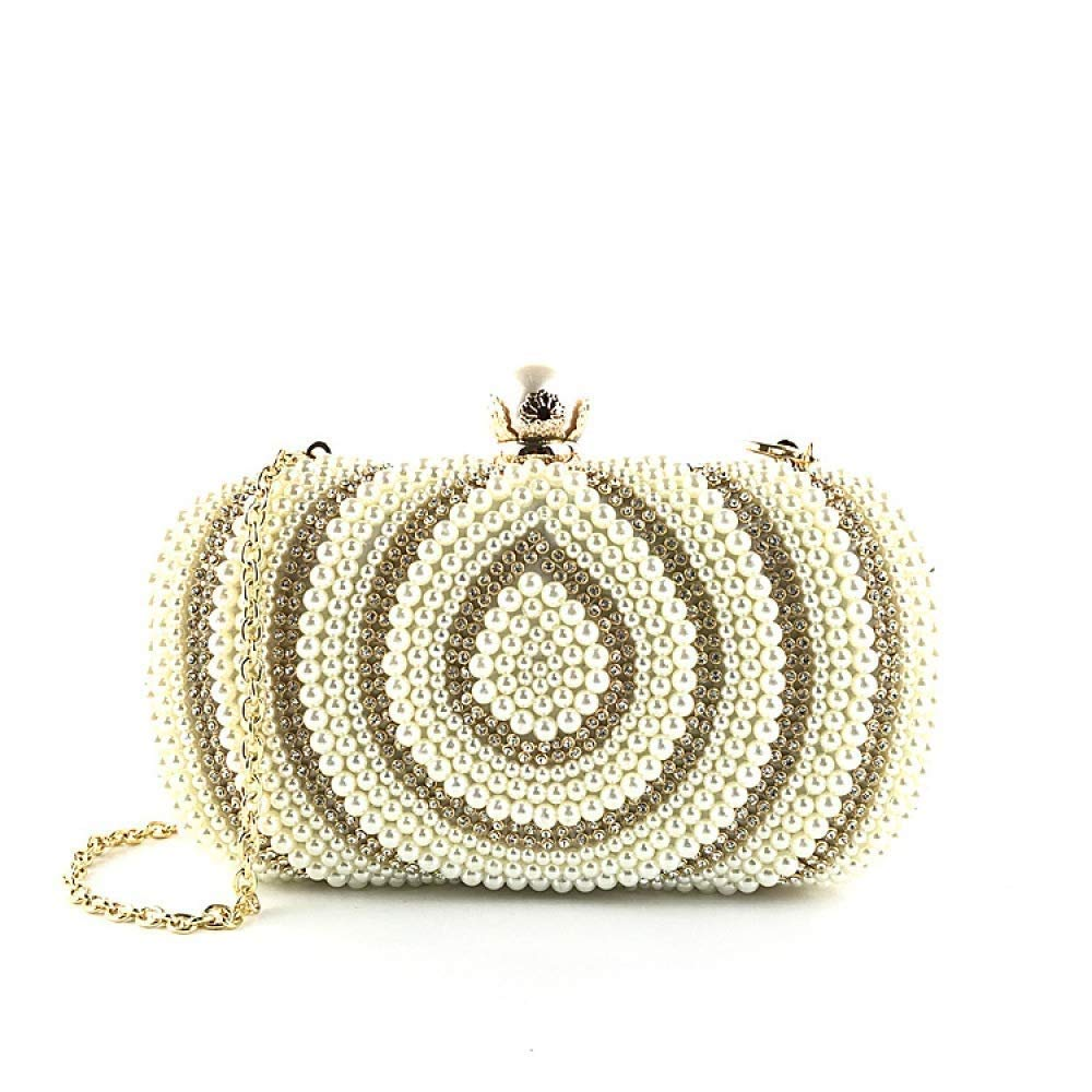 gold Evening Clutch Bag Vintage Women's Clutch Evening Bag Cheongsam Dress with Handmade Beaded Small Square Bag Tote Satchel Crossbody Shoulder Messenger Package Purse Handbag (color   White, Size   )