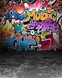 AOFOTO 8x10ft Graffiti Wall Photography Background Grunge Colorful Street Art Backdrop Fashion Party Decor Rock Music Vocal Concert Hip Hop Stylish Pop Trendy Portrait Photo Studio Props Wallpaper