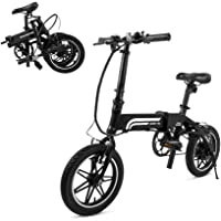Swagtron EB-5 Lightweight Folding 14 Inch 36V 250W eBike with Pedals & Power Assist 15.5-Mile Range