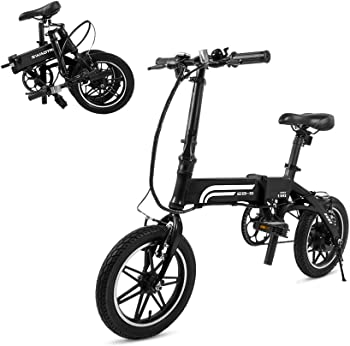 Swagtron EB-5 Lightweight Folding 14 Inch 36V 250W eBike with Pedals