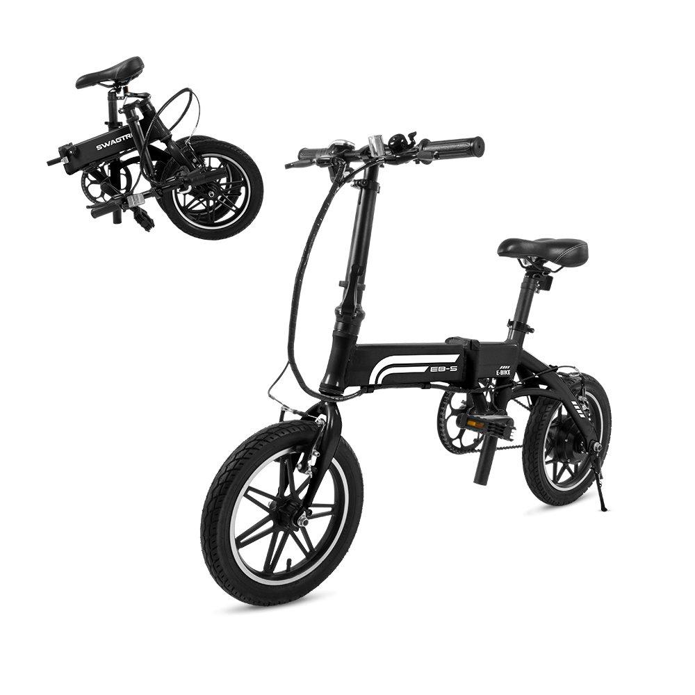 SwagCycle EB-5 Pro Bicicleta ligera y plegable de aluminio con pedales, Power Assist y batería de iones de litio de 36V; Bicicleta eléctrica con ruedas de 14 pulgadas y motor de cubo de 250 W