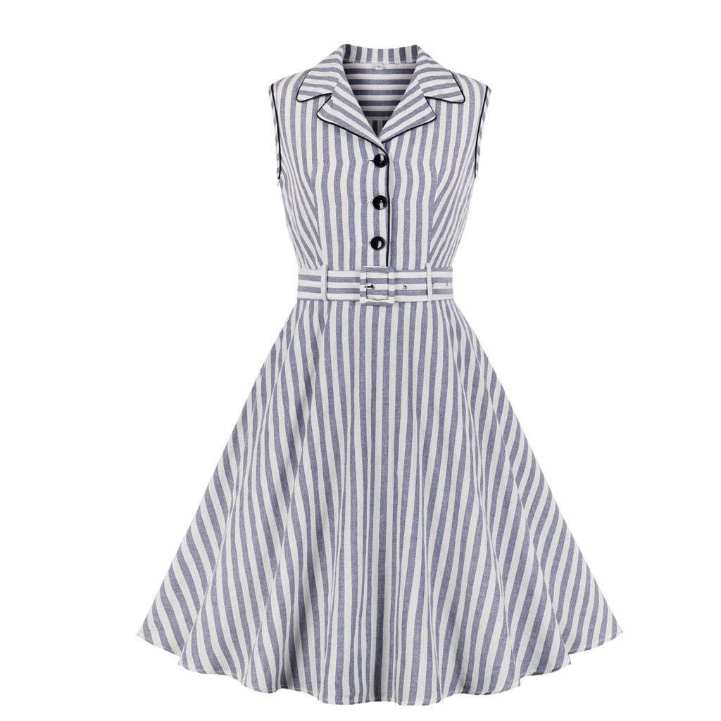 Sttech1 Women Summer Sleeveless Dress V-Neck Botton Striped Printed A-line Dress White