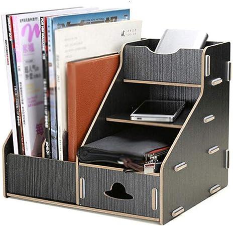 LIXMZZWJ Organizador de Archivos de Escritorio, Caja de Almacenamiento de Oficina Compartimiento de Archivos de Escritorio de Madera para A4 Revista de Documentos de Papel Estante de CD de Libros: Amazon.es: Hogar