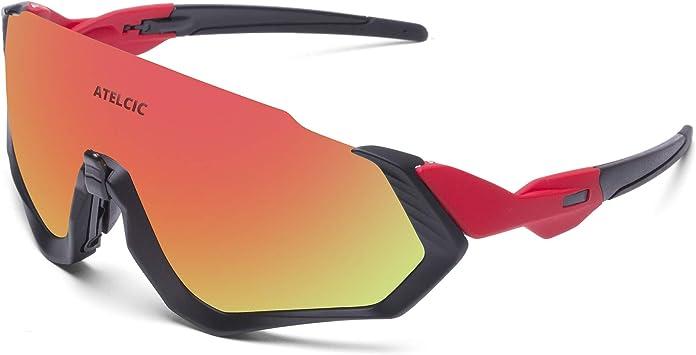Gafas de Sol para Ciclismo, Protección UV400 y Montura De TR-90 Resistentes a Golpes Antivaho para Hombre Mujer MTB Bicicleta Correr Montaña y Carretera (Roja (Lente roja)): Amazon.es: Deportes y aire libre