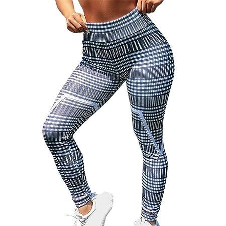 LuMon Pantalones Yoga, Mujer a Rayas Cuadrado Estampado ...