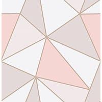 """Behang""""Apex"""" met geometrisch patroon van Fine Decor, roodgoud, FD41993"""